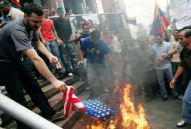 Muslims Burn American Flag